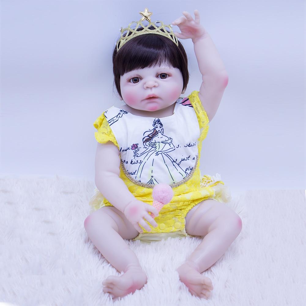 Dollmai Baby Reborn Doll Hard Silicone Boneca Adorable Menina Fashion 55cm/57cm Vinyl Surprise Christmas Gift Doll Kids Bath Toy