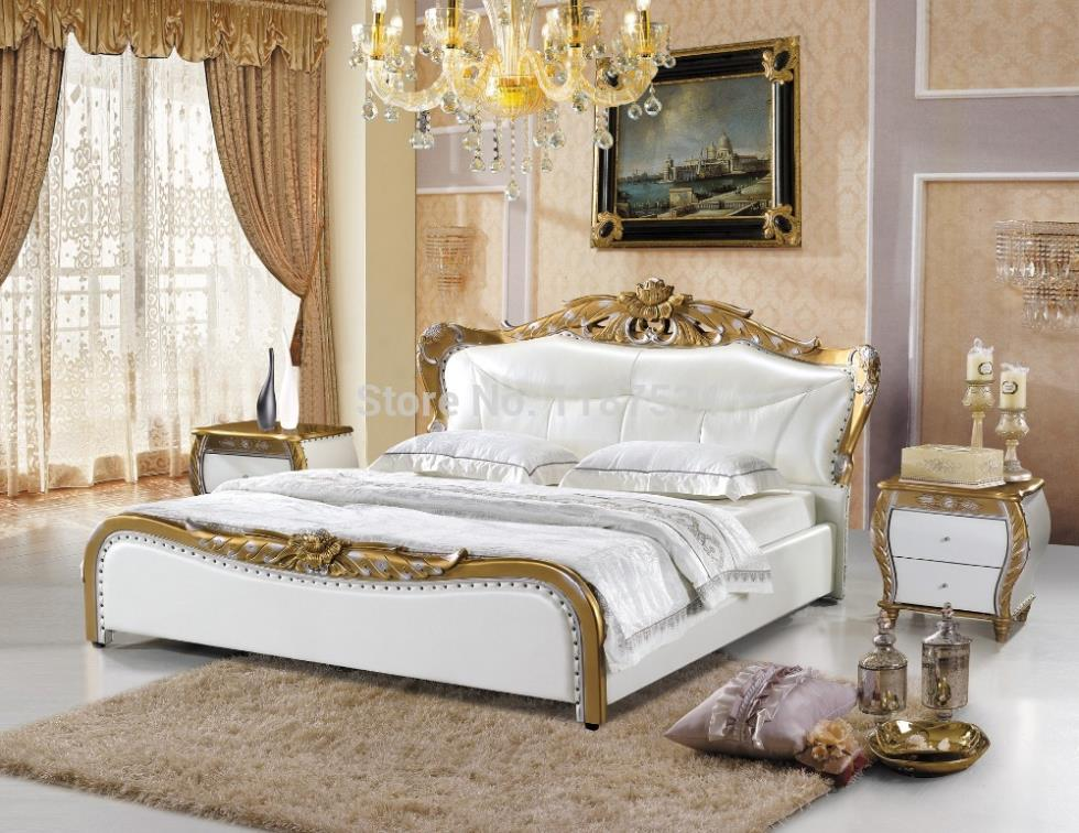 A1040 Royal King Size Leather Soft Bed High Quality