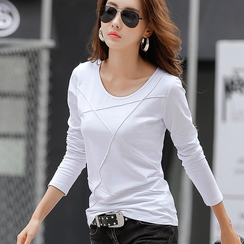 Autumn New Women Tee   T     Shirt   Femme Slim Long Sleeve Black White Blue Office   T     Shirt   Lady Tops Cotton   T  -  Shirt   Casual High Quality