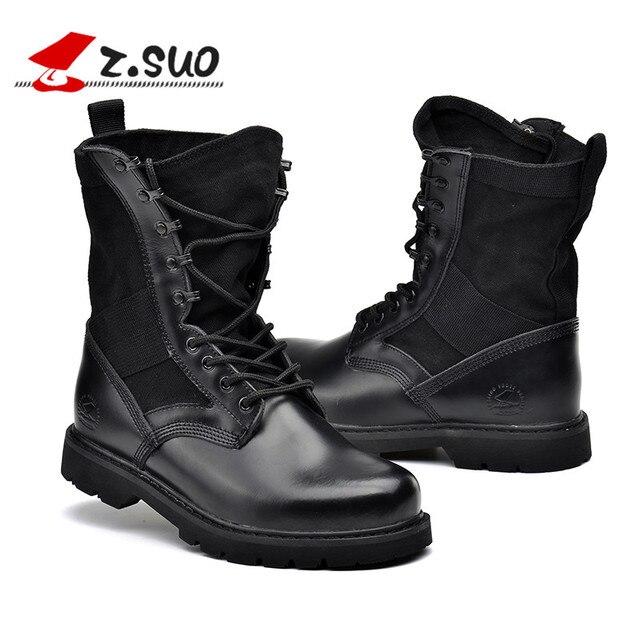 d008d04ca Z. Suo de alta calidad de cuero genuino mujeres botas negro botas militares  botas tácticas