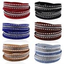 HOCOLE Wrap Bracelet For Women Leather Crystal With Full Pave Wrapped Bracelets Fashion Jewelry Unisex