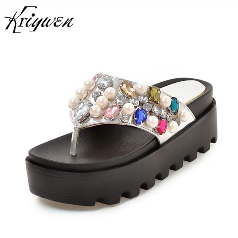 Verano Cuñas Cristal silver Flip Flops Partido Negro Kriywen String Casual Pantoffels Zapatillas Zapatos Mujer Boda Bead Dames Tacones Mujeres Altos 5qwRY8R