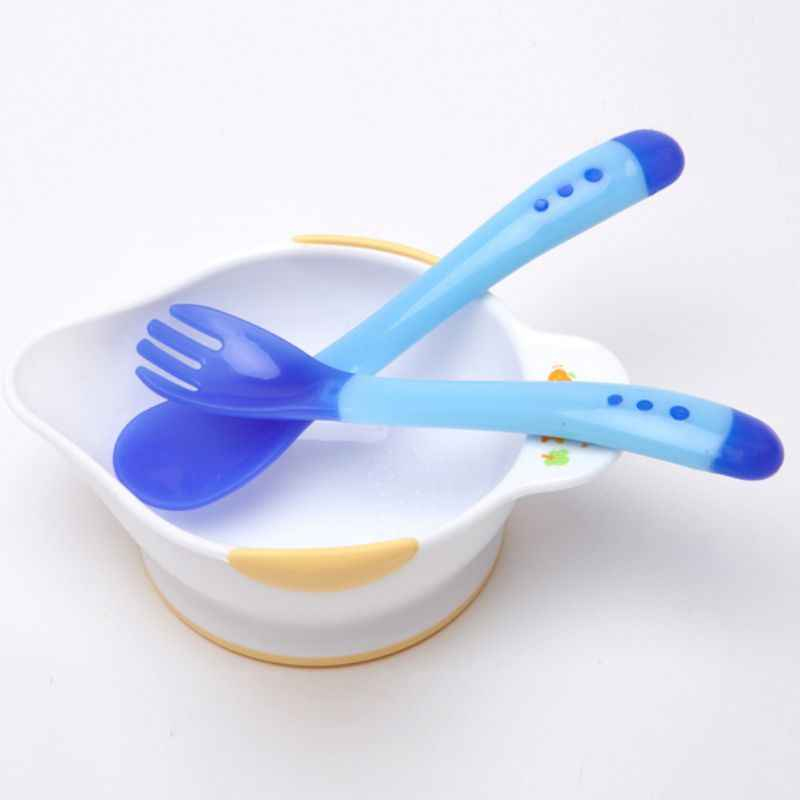 2pc ส้อมซิลิโคนเด็กจานช้อนป้อนอาหารเด็ก Flatware เด็กให้อาหารอุณหภูมิสีเปลี่ยนสีช้อนส้อม