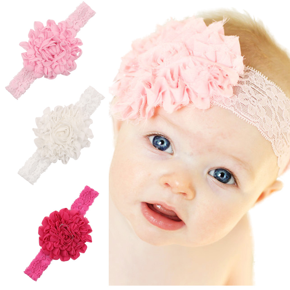 1 Piece MAYA STEPAN Children Girls Fashion Chiffon Flower Lace Hair Head Band Baby Newborn Hair Rope Headband Headwear Headwrap