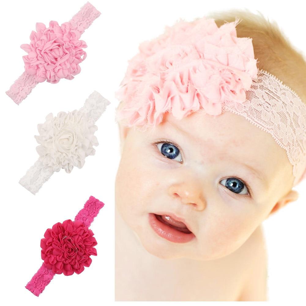 1 Piece MAYA STEPAN Children Girls Fashion Chiffon Flower Lace Hair Head Band Baby Newborn Hair Rope Headband Headwear Headwrap