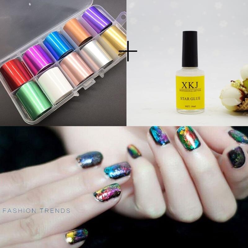 10pcs 2.5*100cm Holographic Nail Foil Set With Nail Glue Transparent  Diamond Nail Art Transfer Sticker Manicure Decoration