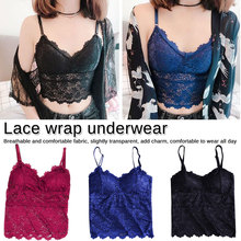 Women Lace Tube Top Flower Camisoles Sexy Crop Top Female Tanks Top  Soft Removable Padded V-Neck Transparent Lace Bra flower embroidery eyelash lace crop top