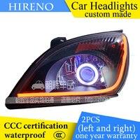 Hireno Custom Modified Headlamp For Chery Tiggo 2006 09 Headlight Assembly Car Styling Angel Lens Beam