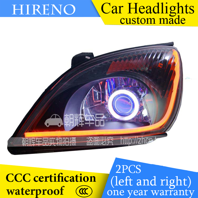 Hireno custom Modified Headlamp for Chery Tiggo 2006-09 Headlight Assembly Car styling Angel Lens Beam HID Xenon 2 pcs hireno headlamp for cadillac xt5 2016 2018 headlight headlight assembly led drl angel lens double beam hid xenon 2pcs