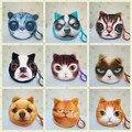 Face do animal coin bolsas carteira pequena senhoras impressão 3D gatos moda zipper bag pingente para mulheres Monedero Billeteras Bonito Gato