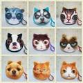 animal face coin purses small wallet ladies 3D printing cats fashion zipper bag pendant for women Billeteras Cute Monedero Gato