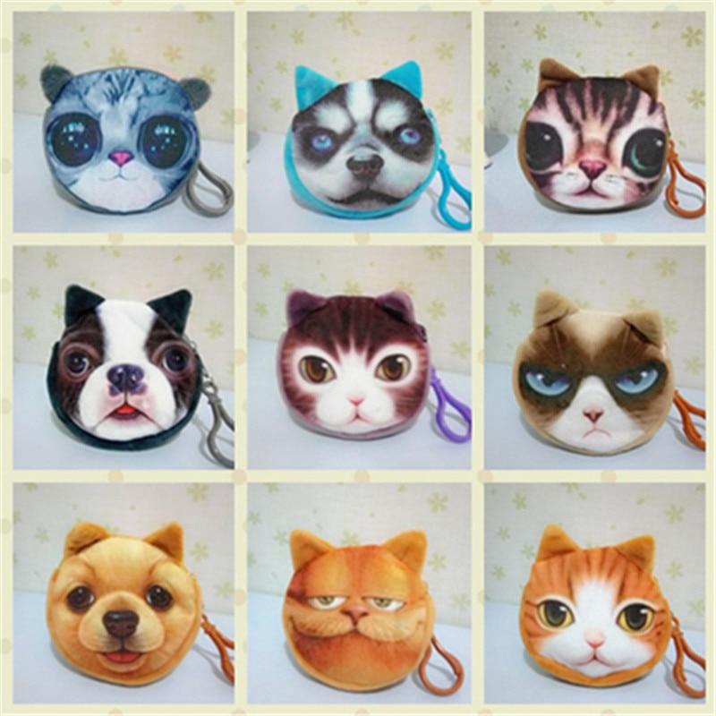 animal face mini coin purses small wallet ladies 3D printing cats fashion zipper bag pendant for women Billeteras Monedero Gato temptations mixups surfers delight flavor treats for cats pouch mega bag