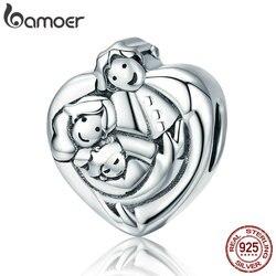 BAMOER натуральная стерлингового серебра 925 сладкий Семья навсегда сердце Форма Шарм бисер fit Для женщин Браслеты DIY ювелирных SCC688