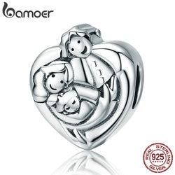 BAMOER Genuine 925 Sterling Silver Sweet Family Forever Heart Shape Charm Beads fit Women Bracelets Bangles DIY Jewelry SCC688