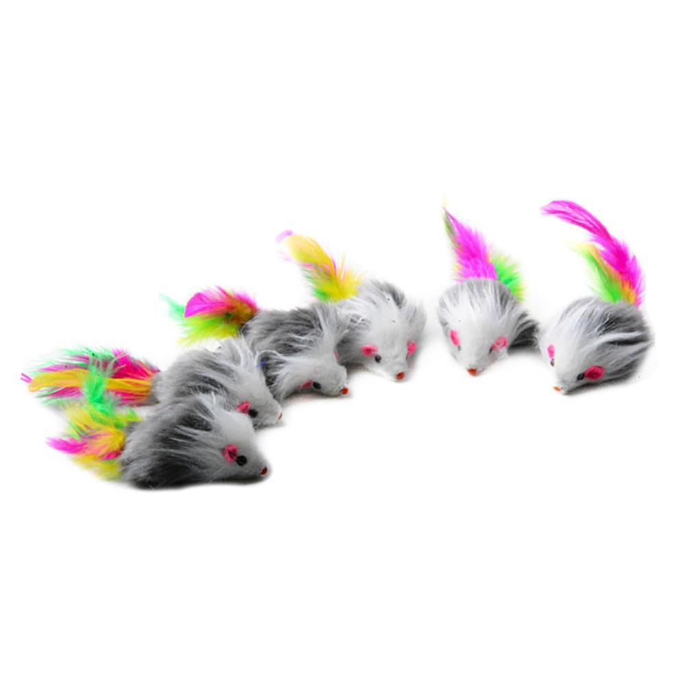 US $1.46 15% OFF|5 sztukzestaw zabawka dla kota pióro mysz goni pluszowe myszy ogon grzechotka futrzany futro szczur kotek pióra gryzaki koty