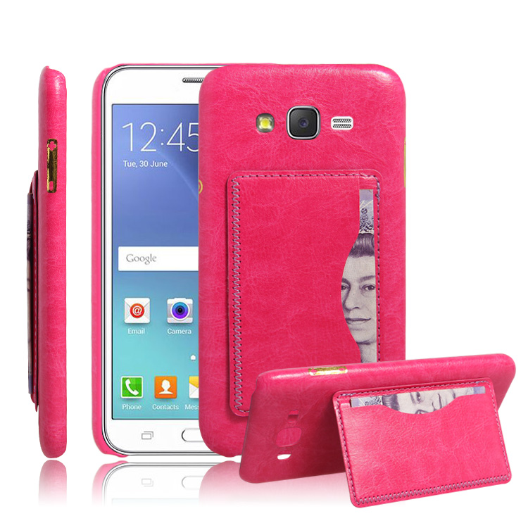 new product 25a9d 074d0 US $3.2  fashion triangle bracket litchi texture leather case for Samsung  Galaxy J2 J200 J200F J200G back cover case with card slot on Aliexpress.com  ...