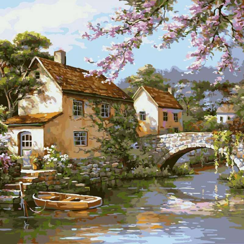 40x50cm DIY Frameless Digital Landscape Oil Painting By Numbers Drawing Colors Canvas Hand Painted Picture For Wall Decoration
