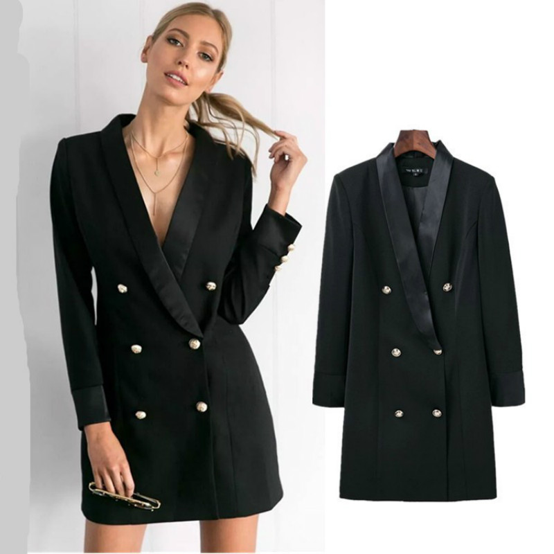 Elegant Professional Mini Woman Suits Dress Double-breasted Blazer Jacket OL Buttons Coat Notched Cardigan Tops Womens Blazer
