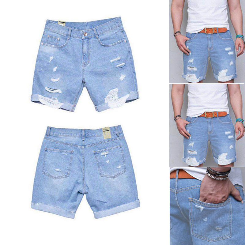 Summer Shorts Jeans Men Fear Of Gold Cool Steet Biker Mens Jeans 2018 Skinny Rip Slim Stretch Denim Distress Frayed Short Jeans