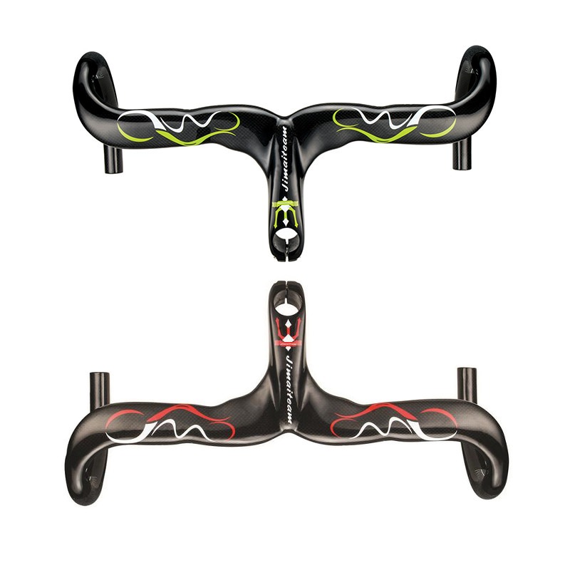 New 3K Glossy Full Carbon Fiber Integrated Handlebar and Stem Road Bike Carbon Fiber Handlebar Bike Parts Bike Accessories tator rc 3k carbon fiber plate 3 5mm tl2900