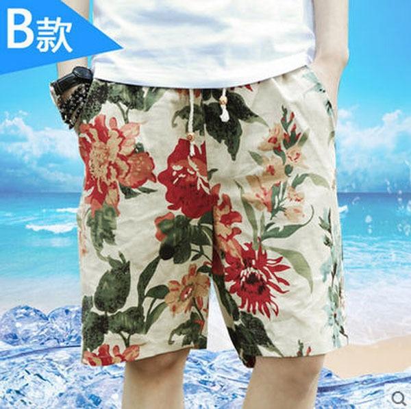Новое поступление пляж печать летние шорты мужские Большой размер свободного покроя корейский многоцветные широкий цветочные Boardshorts парня M / 4Xl J42