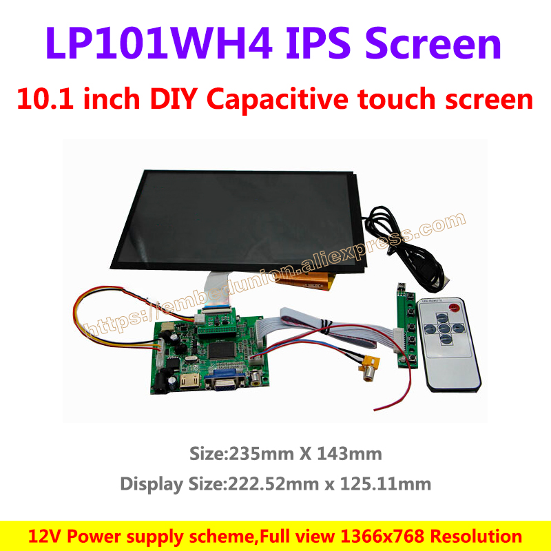 10.1 inch DIY Capacitive touch screen kit for car screen 1366*768 Resolution IPS Full view LCD Screen High definition 7 inch ips high definition lcd screen driver board display kit 1280 800 projector diy reversing