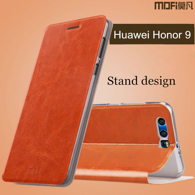 best service 24f65 3da46 US $9.99 |Huawei honor 9 case flip cover leather back silicone honor 9  cover protect hard cases MOFi original huawei honor 9 case cover-in Flip  Cases ...