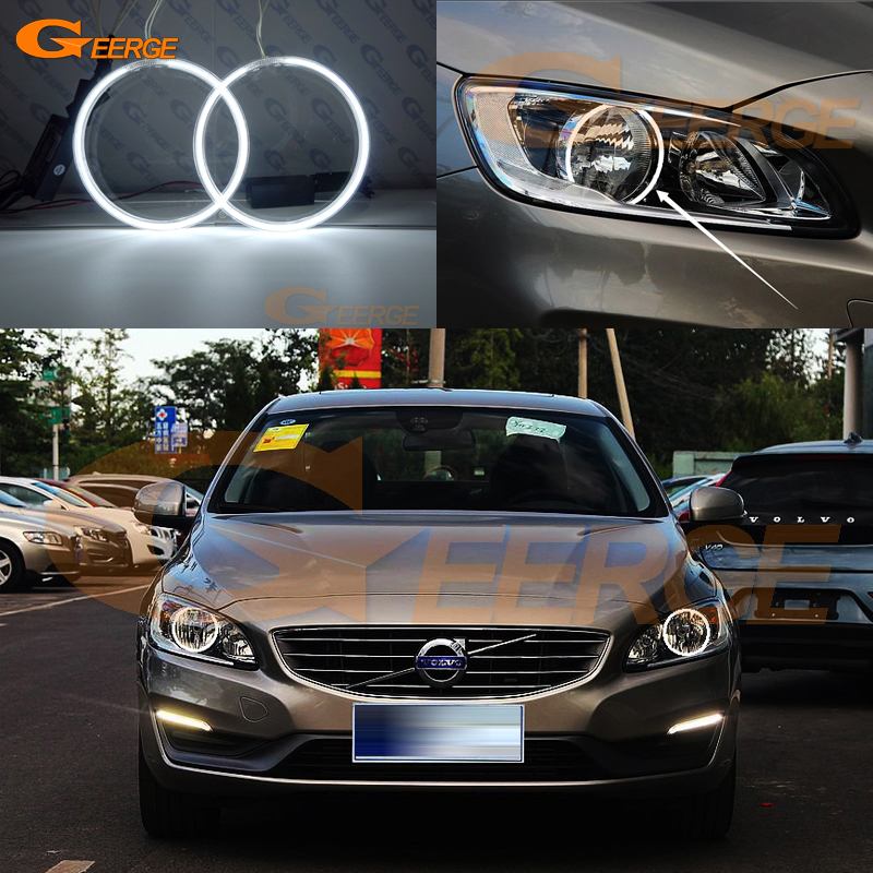 For VOLVO S60 V60 2014 2015 2016 HALOGEN HEADLIGHT Excellent angel eyes Ultra bright illumination CCFL Angel Eyes kit Halo Ring for chrysler pacifica 2007 2008 halogen headlight excellent angel eyes ultra bright illumination ccfl angel eyes kit