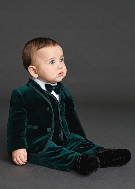 28b32f91f8 Fashion Emerald Green Velvet Custom Made Boys Wedding Suit Kids Tuxedo Suit  Communion Suits For Boys