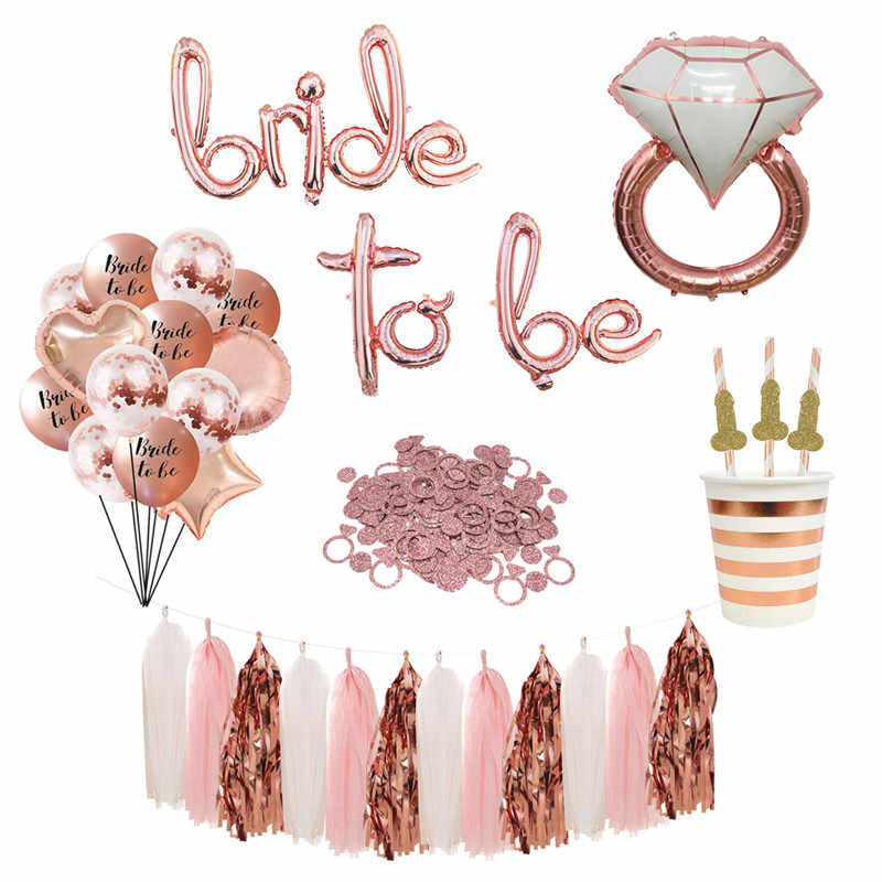 1set Bride To Be Balloons Banner Paper Cup Willy Straw Plates Bachelorette Party Bridal Shower Hen Party Wedding Decoration