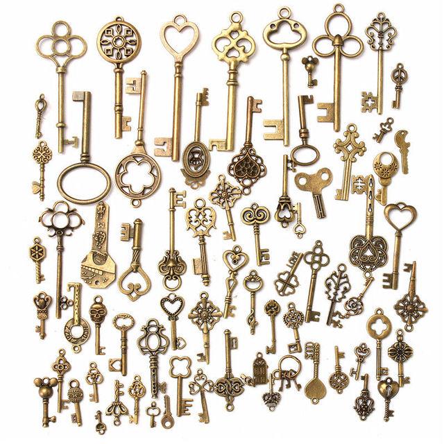 DIY 1 компл. 70 Античная Ретро Винтаж старый вид бронза ключи Fancy Heart лук кулон Металл Craft ручной Аксессуары Коллекция