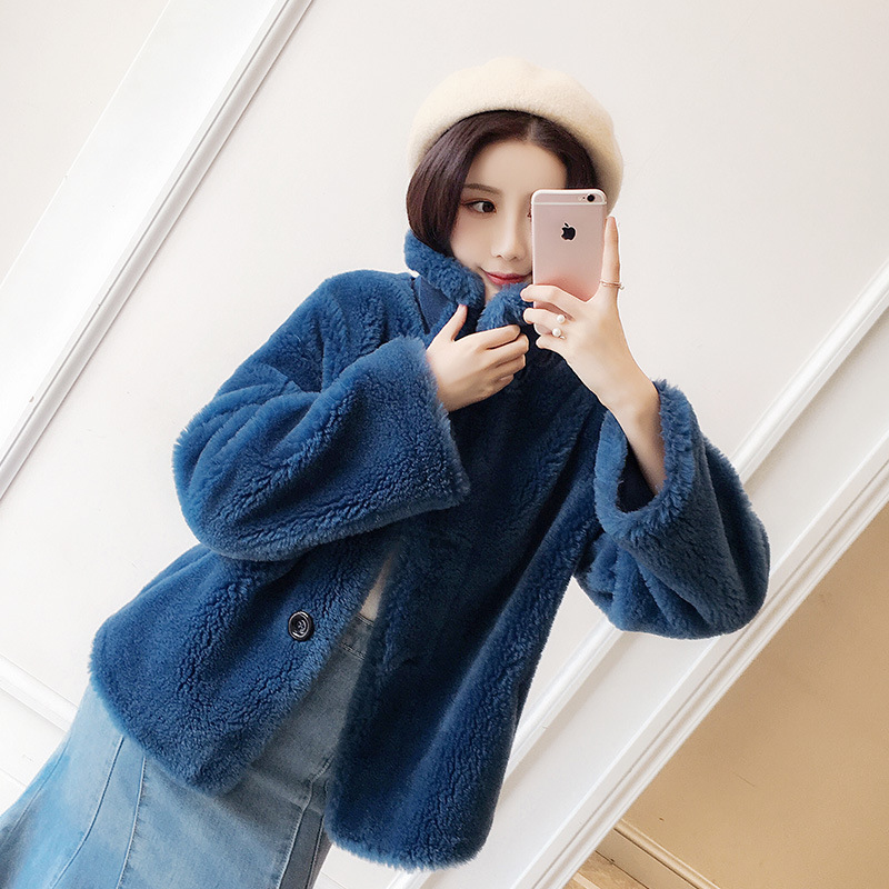 DUOUPA 2019 Lazy Fashion Wool Velvet Coat Female Short Wool Wool Dream Small Particles Small Fur Coat in Real Fur from Women 39 s Clothing