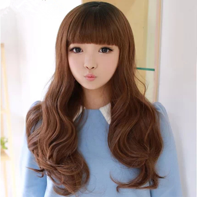 Wholesale 2014 Latest Girls Long Hair Fluffy Wig Repair Face Neat Bangs  Wavy Hair Pear Sweet
