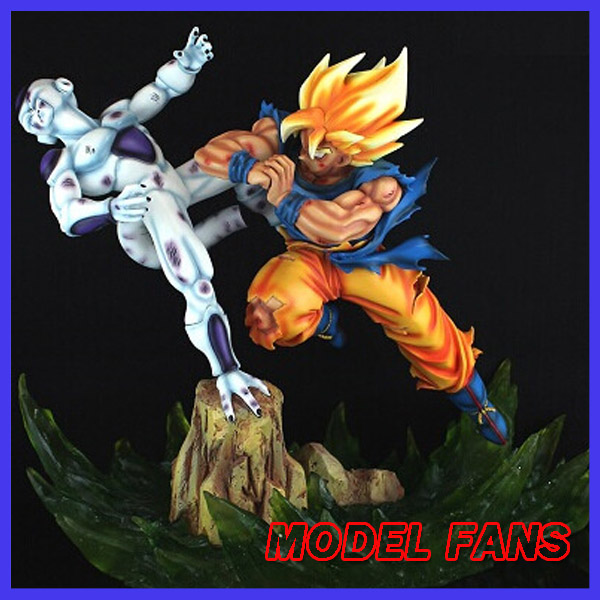 MODEL FANS IN-STOCK VKH Dragon ball 34cm height super saiyan goku vs final Frieza gk resin statue figure for collection model fans in stock dragon ball z mrc 30cm son gohan practice gk resin statue figure toy for collection