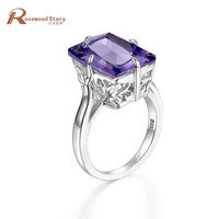 Luxury Jewelry 925 silver jewelry February Birthstone Amethyst big stone ring vintage New Arrival rings for Wedding Engagement