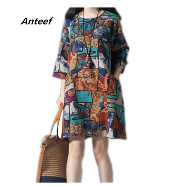 6e9102b76a3 Anteef cotton linen vintage floral print plus size women casual mini loose  autumn summer dress vestidos femininos 2018 dresses