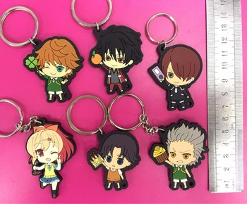 6pcs/lot Prince of Tennis Original Japanese anime figure rubber Silicone sweet smell mobile phone charms/key chain/strap