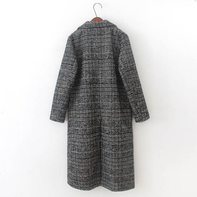 d8ae9a442f 2018 Winter Coat Women Wide Lapel Pocket Plaid Wool Blend Coat Oversize  Long Black Trench Coat
