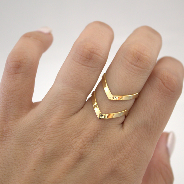 Jisensp Vintage Jewelry Retro Double V-shaped Ring Boho Knuckle Midi Finger Ring