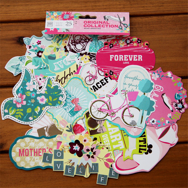 25pcs pack lovely life decorative pre die cut stickers for diy scrapbooking planner