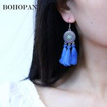 Bohemia Tassel Earrings For Women 6 Color Metal Round Hollow Design Long Drop Fashion Statement Jewelry Beach Bijoux
