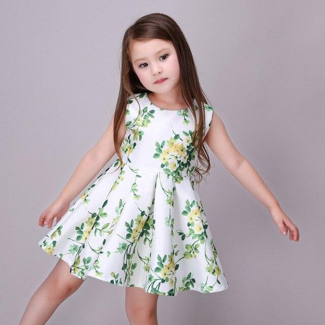 dbff8468b20f 2017 Summer Green Flower 3-12T White Sleeveless Girls Dress Tutu Dress  Smooth Slik Baby Girls Chinese Style Children Clothing