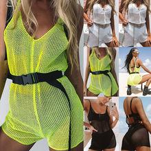 2019 Sexy Women Summer V neck Mesh Bosycon Bodysuit Ladies Sleeveless Playsuit Beach Wear Fashion Jumpsuit