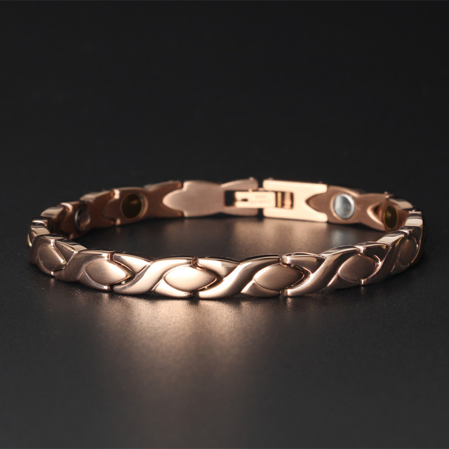 Magnetic Infrared Germanium Negative Ion 4-in-1 Healing Women Bracelets Rose Gold Color Stainless Steel Bracelet Female Jewelry