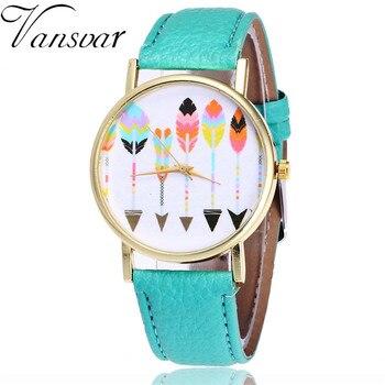 Vansvar Brand Fashion Feather Arrow Watch Casual Women Wrist Watches Leather Quarzt Watches Relogio Feminino Drop Shipping V25 дамски часовници розово злато