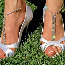 FAAJ 10x (2016 Босиком пляжные сандалии Люкс/свадьбы diamante ножной браслет ног ювелирные изделия