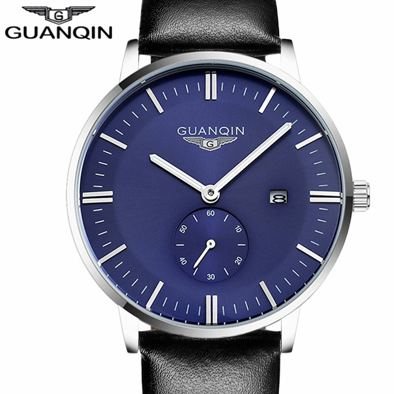 ФОТО GUANQIN brand simple style Watch Men Date Luminous Quartz-Watch Mens Watches Top Luxury Sport Leather strap band Wristwatch
