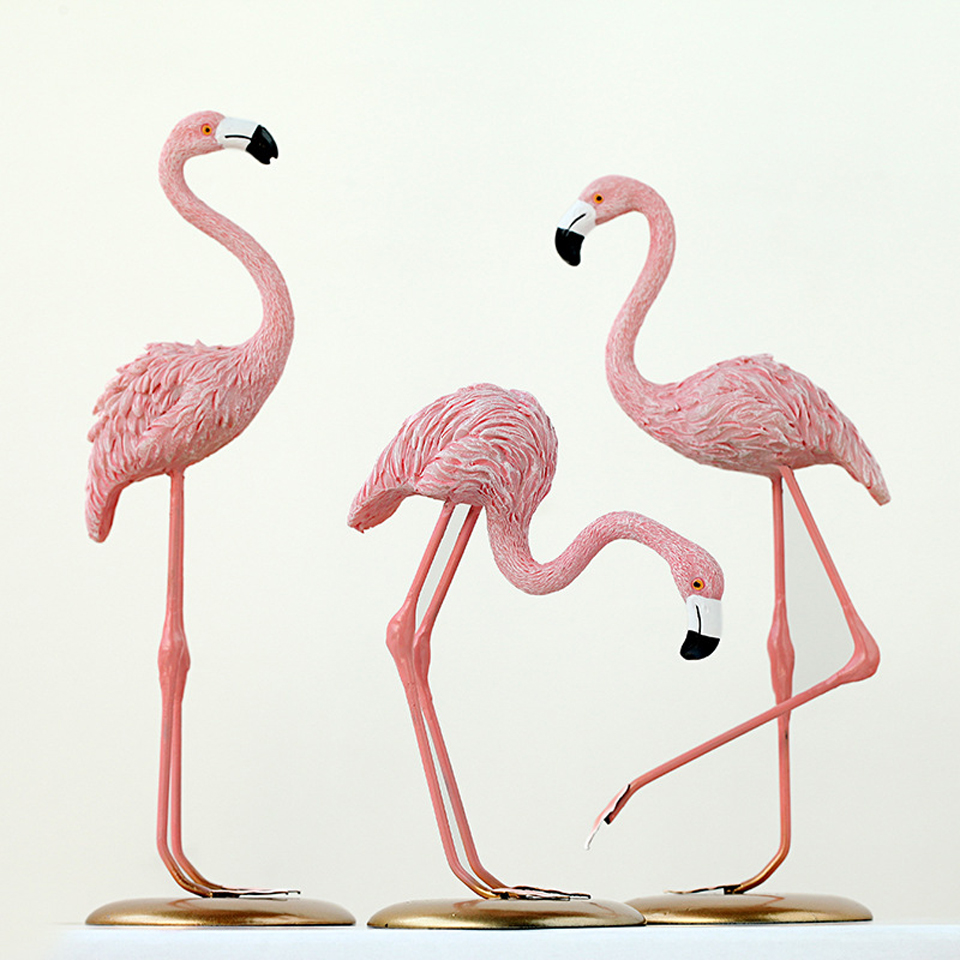 animal:  New Creative Nordic INS Pink Flamingo Resin Home Decoration Living Room Bedroom Animal Crafts Desktop Jewelry Wedding Gift - Martin's & Co