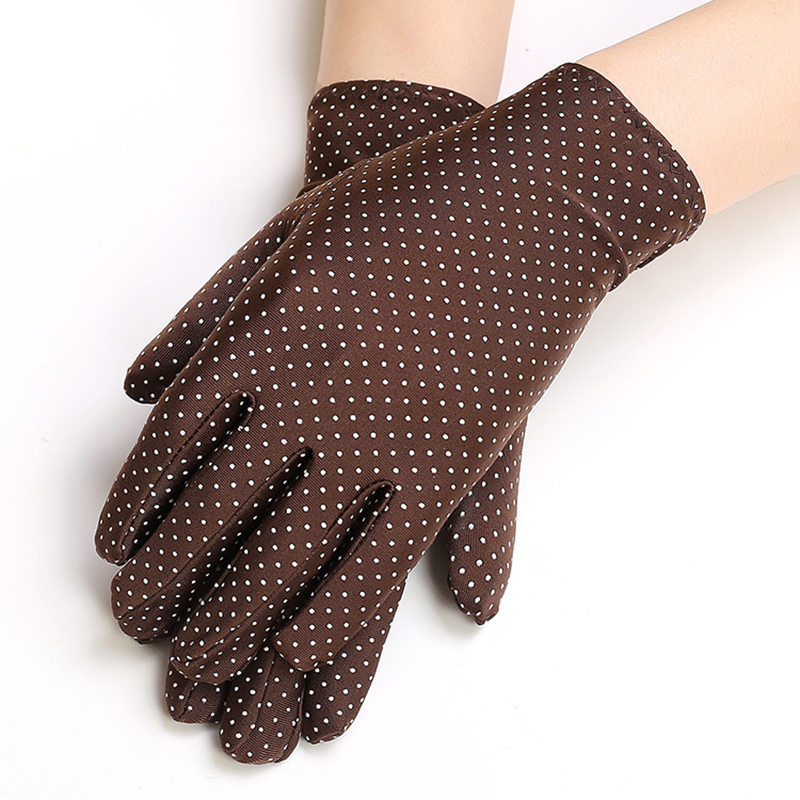 Fashion Lady's Thin Short Spot Elastic Spandex Square Dance Sunscreen Gloves Spring And Summer