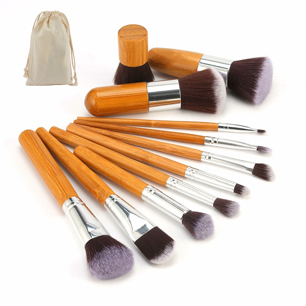 11pcs natural bamboo professional makeup brushes set foundation blending brush tool cosmetic kits makeup set brusher